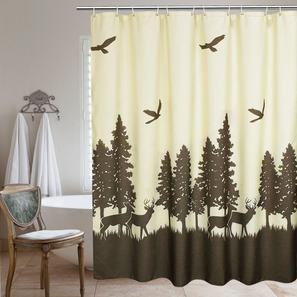 UFRIDAY Fabric Shower Curtain Extra Long Waterproof, Printed Bath Curtain with Lead Weight, Natural Theme Polyester Bath Curtain Water-Repellent, Brown and Yellow, 72 x 78 inchs