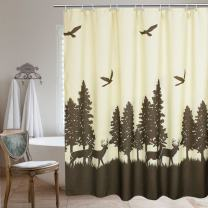 UFRIDAY Fabric Shower Curtain, Waterproof with Lead Weight, Deer in The Forest Design,72 x 72 inchs, Yellow and Brown