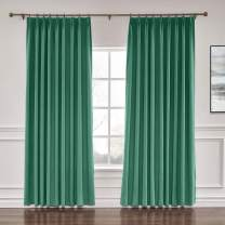 "ChadMade Extra Wide Curtain Panels 100"" W x 84"" L Polyester Linen Drapes with Blackout Lining Pinch Pleat Curtain Panels Solid Luxury Drapable LivingroomPeacock (1 Panel)"