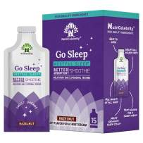 NutriCelebrity Go Sleep Melatonin Liposomal Natural Sleep Support Aid, Fast Absorption, Helps Promote Night Time Deep Restful Sleep for Calm, Relaxation, Relief, Mood - 15 Pouches (Hazelnut)
