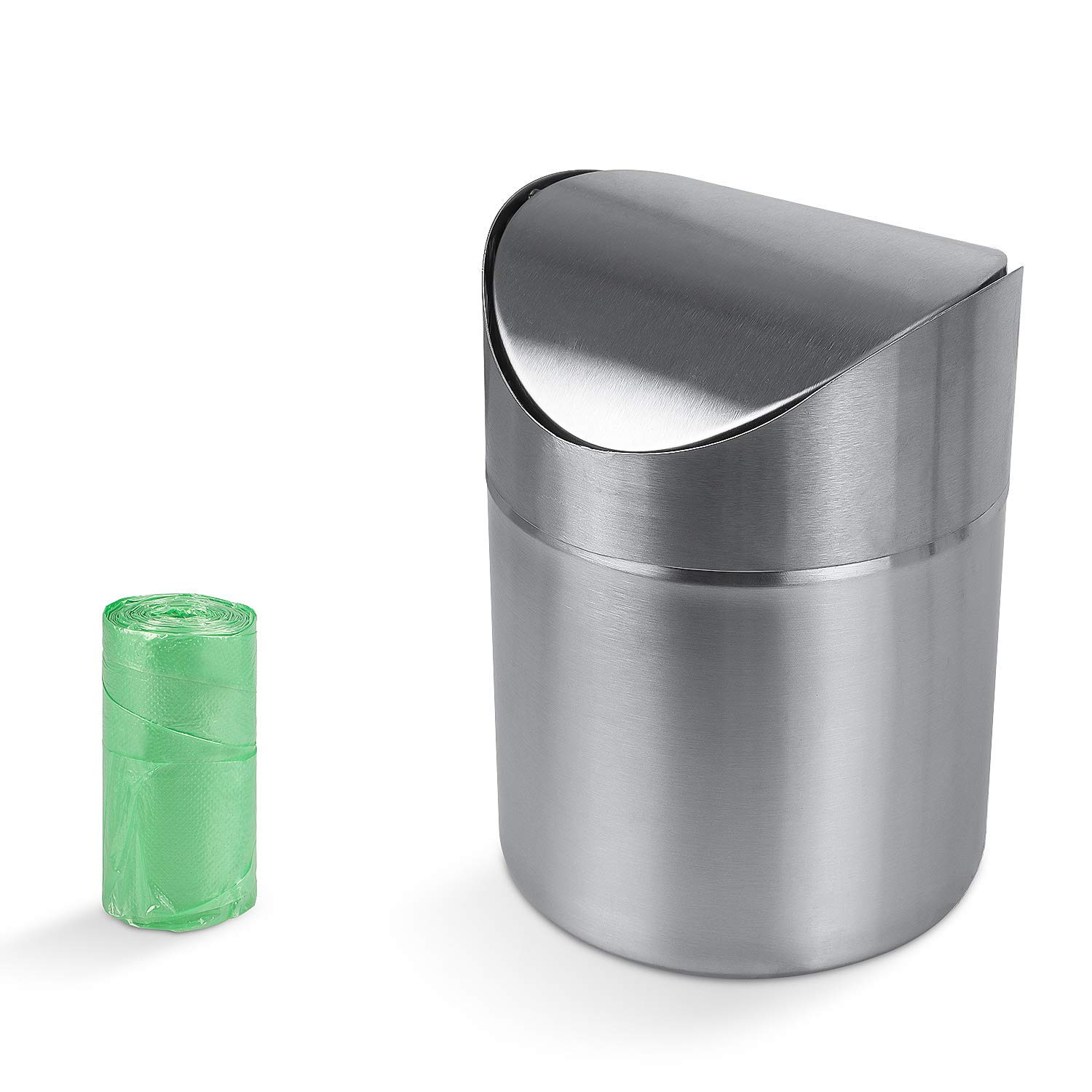 AMAZECO Mini Countertop Brushed Can Stainless Steel Swing Lid Trash Can Set, Come with Trash Bag, 1.5 L / 0.40 Gal Silver Color