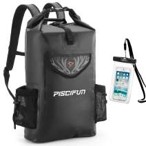 Piscifun Wrapper Dry Backpack with Waterproof Phone Case - Waterproof Floating Dry Bag 20L 40L 50L for Fishing, Kayaking, Boating, Swimming, Camping, Hiking