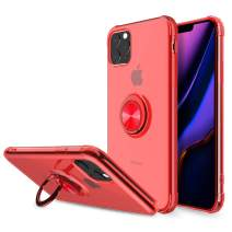 Elegant Choise Compatible iPhone 11 Pro 5.8 inch Case, Hybrid Clear Ultra Thin Ring Holder Kickstand Shockproof Anti-Scratch Rugged Bumper Drop Protective Cover Compatible Magnetic Car Mount(Red)
