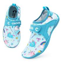 Crova Kids Water Sports Shoes Ultra Light Totally Drainage Quick-Dry Aqua Socks Barefoot Slip-on for Boys Girls Toddler