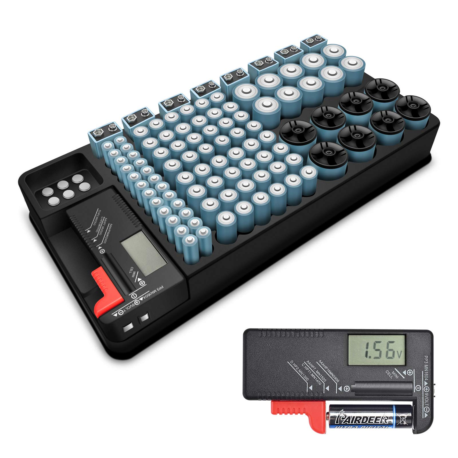 Battery Storage Organizer Case with Removable Battery Tester,Holds 110 Batteries Various Sizes Support AAA,AA,9V,C and D Size and Great for The Kitchen,Work Space,Office