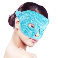 Ice Face/Eye Mask for Woman Man, Heated Warm Cooling Reusable Gel Beads ice Mask with Soft Plush Backing,Hot Cold Therapy for Facial Pain,sleeping,Swelling,Migraines, Headaches,Stress Relief[Blue]
