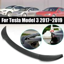 Kyostar Tail Wing Rear Spoiler Carbon Fiber Look Trunk Roof Trim for Tesla Model 3 2016-2019