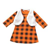 Fioukiay Toddler Girls Christmas Outfits 2PC Kids Black & Red Plaid Dress and Reversible Vest Clothes Set