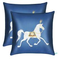SYOSIN Satin Pillowcase Hand Made Embroidery Horse Home Decoration Cushion Cover/Throw Pillow Cover 20x 20 Inches, Set of 2, Pure Blue