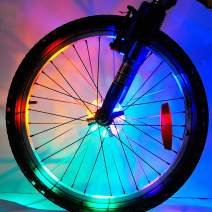 Meili Rechargeable Super Bright Bicycle Light Colorful Wheel Lights - Cool Led Kids Bicycle Spoke Lights,Waterproof Bike Tire Lights Great Gift for Kids (1 Tire Pack)
