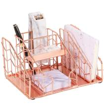 Simmer Stone Desk Organizer, 6 Compartments - Mail Sorter, Pen Holder, Business Card Holder and Sticky Note Holder, Wire Stationery Storage Caddy for Office Supplies and Accessories, Rose Gold