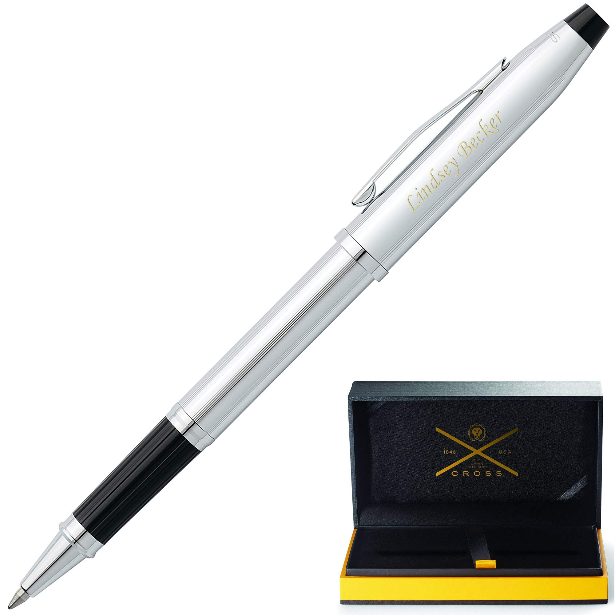 Personalized Cross Century II Lustrous Chrome Selectip Rollerball Pen 3504. Custom Engraving by Dayspring Pens!