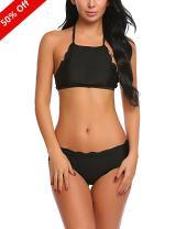 Avidlove Womens Halter Bikini Swimsuit Padded Two Pieces Bathing Suits Beach Swimwear Black XX-Large