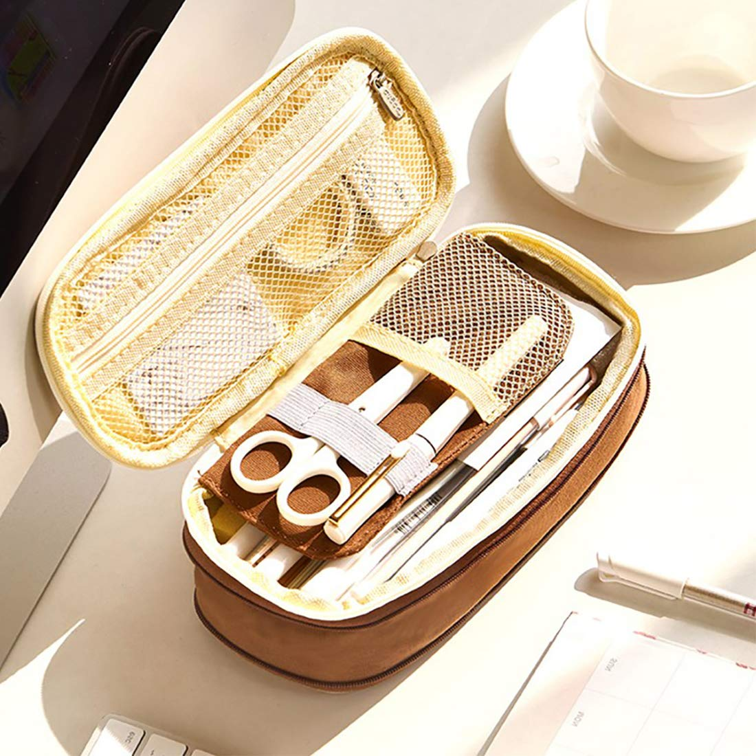 Oyachic Telescopic Pencil Case Large Capacity Zipper Pen Bag Canvas Makeup Stationery Box Office School Supplies Pouch (Dark Brown)