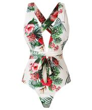 Begonia.K Women's Tropical Print Deep V-Neck Criss Cross Floral One Piece Swimsuit