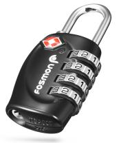 Fosmon 4 Digit TSA Approved Luggage locks for Suitcases & Baggage 1,2,3,4 Pack - Black