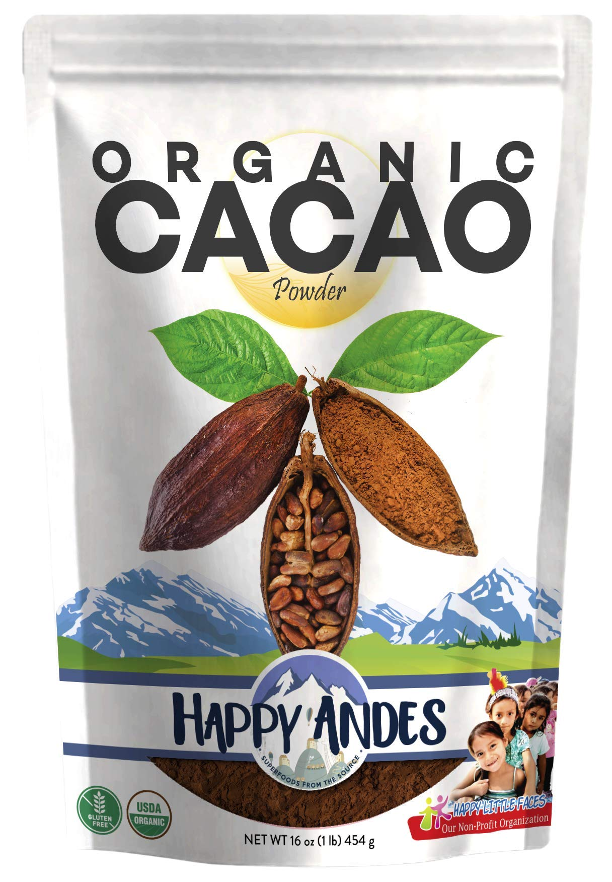 Happy Andes Organic Cacao Powder 1 lb - All-Natural, Single Source Peruvian Beans - For Hot Chocolate, Baking & Smoothies - Rich in Antioxidants, Nutrients, Flavanols - Non-Gluten & USDA-Certified