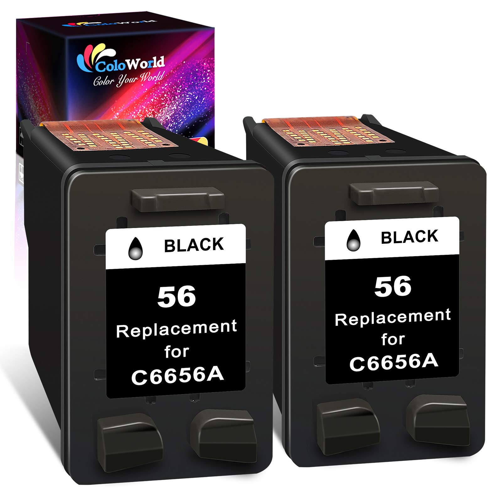 ColoWorld Remanufactured Ink Cartridges Replacement for HP 56XL 56 (2 Black) use with OfficeJet 5610 6110 5510 4215 PhotoSmart 7660 7760 7960 DeskJet 5550 5650 450 PSC 1315 2210 Printer