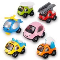 6 Pack Cartoon Construction Toy Cars, Trucks and Construction Rescue Vehicles Play Set   Push and Go Toys for Babies, Toddlers and Kids