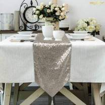ShinyBeauty 12 by 48-Inch Rectangle-Grey-Sequin Tassel Table Runner, Sparkly Dining Table Runners Sequined Dresser Scarves (Grey)