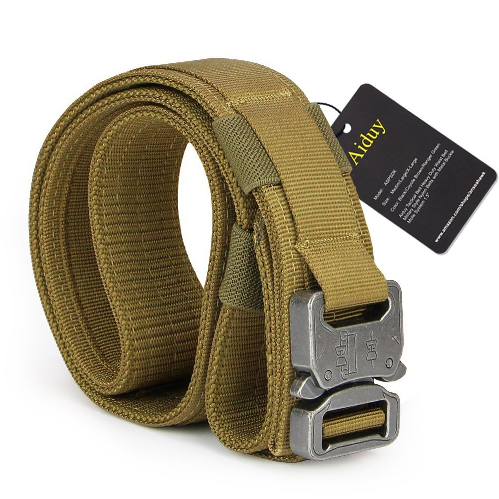 """Aiduy Tactical Belt Heavy Duty Waist Belt Adjustable Military Style Nylon Belts with Metal Buckle Molle System 1.5"""""""