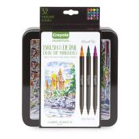 Crayola Brush & Detail Dual Tip Markers, Kids At Home Activities, 32 Colors, 16 Count, Multicolor