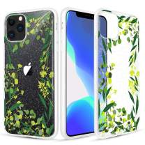 Caka Clear Case for iPhone 11 Pro Flower Case Glitter Floral Pattern Green TPU Flexible Soft Bling Crystal Women Girls Matte Frames Flower Case for iPhone 11 Pro (5.8 inch)(Green Leaves)