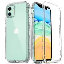 AMENQ Case for iPhone 11 2019, [Built in Screen Protector] Heavy Duty Clear Hard Protective Case with Shockprook TPU Bumer and Rugged PC Back Armor Cover for iPhone 6.1 inches (Crystal Clear)
