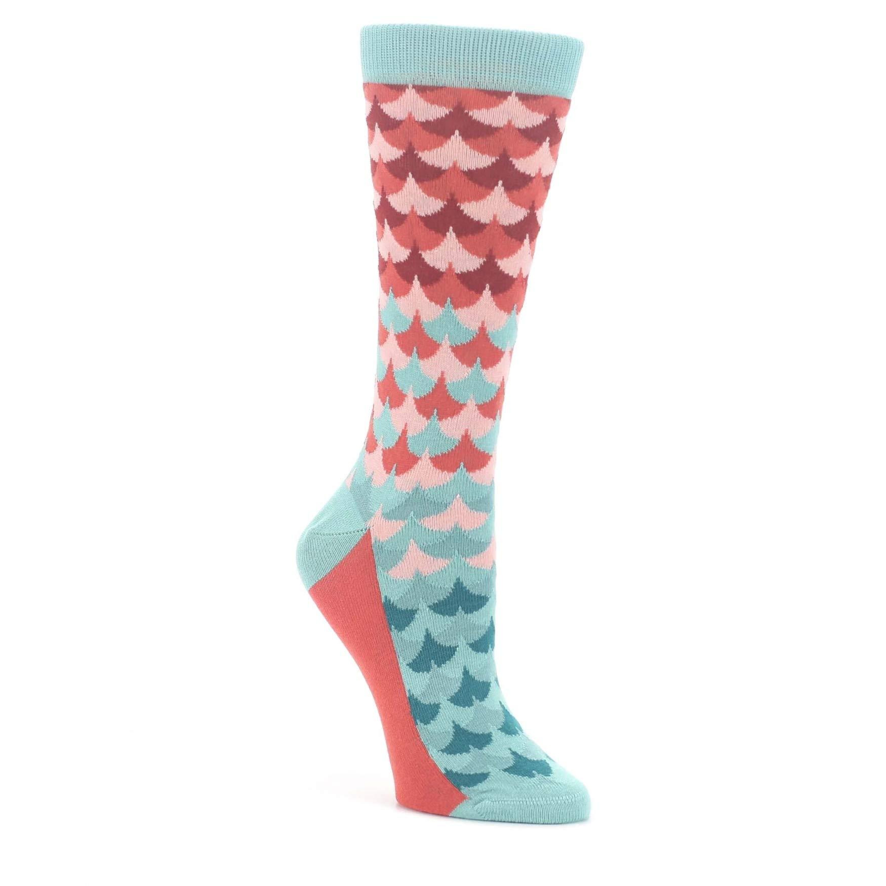 Teal Red Mermaid Scales Women's Dress Socks - Statement Sockwear