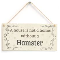 "Meijiafei A House is Not A Home Without A Hamster - Lovely Rustic PVC Pet Sign/Plaque 10""x5"""
