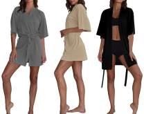 Women's Kimono Robes (3 -Pack) Lightweight Bath Robe/Soft Sleepwear V-Neck Ladies Nightwear - Coverup