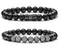 Hamoery 8mm Charm Beads Bracelet for Men Women Zircon Accessories Black Matte Bracelet