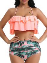 OGNEE Women Bathing Suit Two Piece Swimsuit Ruffled Flounce High Waisted Bikini Swimwear
