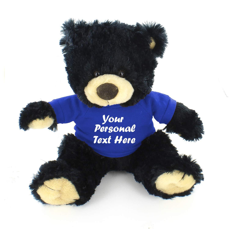 Plushland Black Noah Teddy Bear 12 Inch, Stuffed Animal Personalized Gift - Custom Text on Shirt - Great Present for Mothers Day, Valentine Day, Graduation Day, Birthday (Royal Blue Shirt)