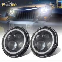 """DOT Approved 7 Inch Round LED Headlights, Partsam 7"""" H6024 High Low Beam White Halo Ring Angel Eyes DRL + Amber Turning Signal Lights Compatible with Jeep Wrangler JK TJ CJ/Hummer H2 H1 (Pair)"""