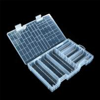 YXQ AA AAA Battery Storage Box Organizer Holder Clear Plastic Case Container Portable-Holds 60xAA + 40AAA Batteries