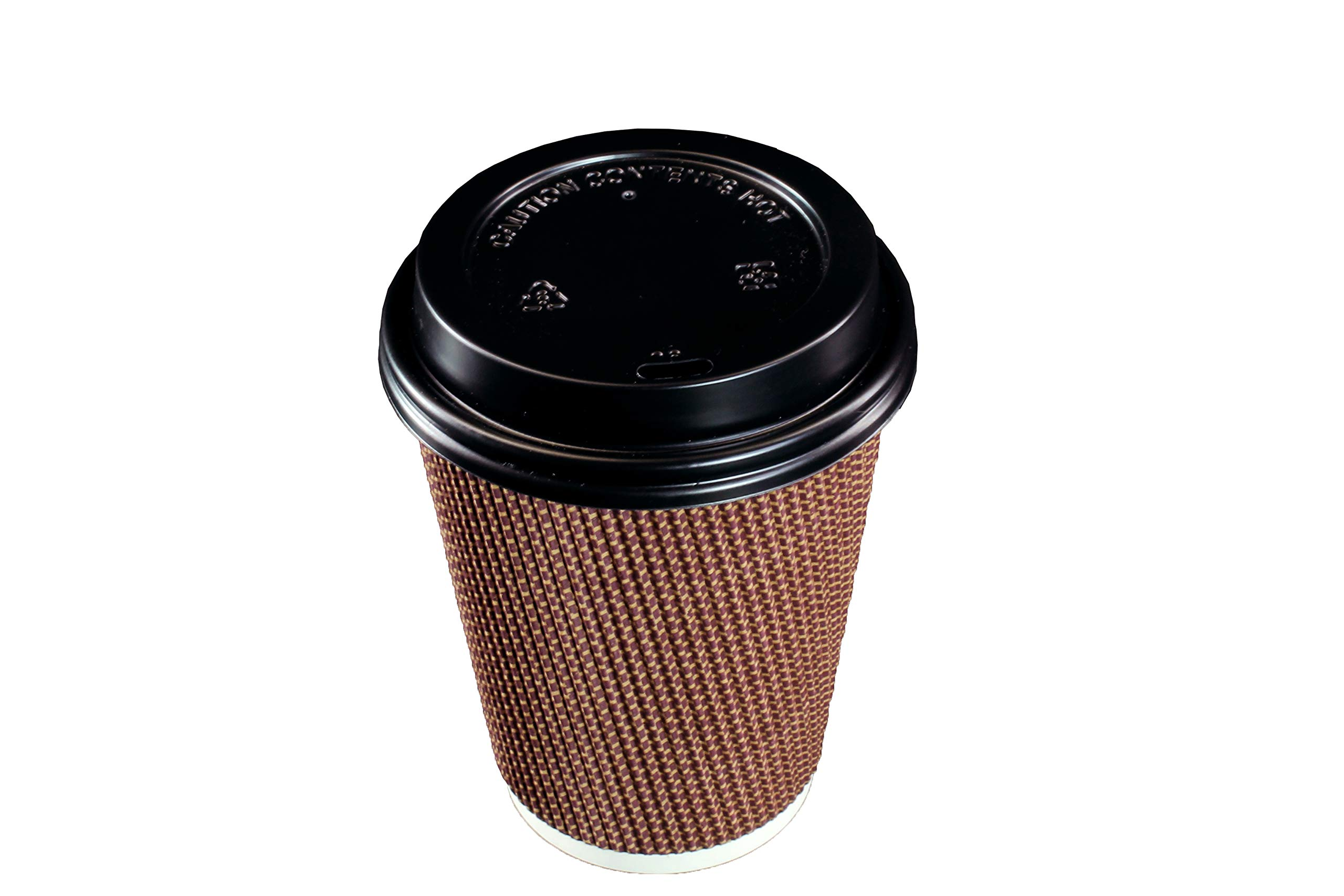 [400 SETS] 12 oz Disposable Double Walled Hot Cups with Lids - No Sleeves needed Premium Insulated Ripple Wall Hot Coffee Tea Chocolate Drinks Perfect Travel To Go Paper Cup and lid Brown Geometric