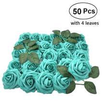 Lmeison Artificial Flowers 50pcs, Green Fake Roses with Leaves W/stem Real Looking, Silk Floral Rose for DIY Wedding Bouquets Bridal Shower Baby Shower Party Tables Home Decorations Cake