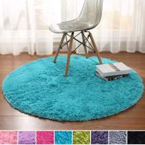 Noahas Luxury Round Rugs for Princess Castle Ultra Soft Play Tent Rug Circular Area Rugs for Kids Baby Bedroom Shaggy Circle Playhouse Carpet Nursery Rugs, 4 ft Diameter, Blue