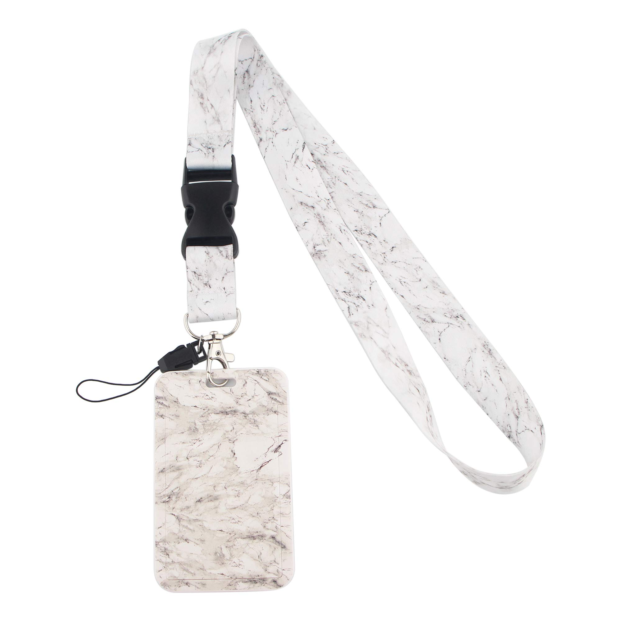 Detachable Lanyard for ID Badges White Marble with Charm Heavy Duty Card Holder, Vertical Plastic Name Tag Work Permit Card