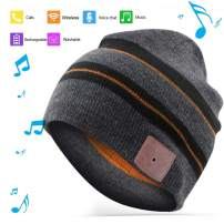 BGJOY Music Hat Wireless Beanie Smart Hat Mens Gifts Womens Gifts Winter Knitting Beanie Cap with Earphones Built-in Microphone for HandFree Calling Music Men Women (Black with Brown)