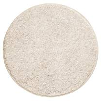 "mDesign Soft Microfiber Polyester Non-Slip Round Spa Mat/Runner, Plush Water Absorbent Accent Rug for Bathroom Vanity, Bathtub/Shower, Machine Washable - 24"" Diameter - Heather Linen/Tan"
