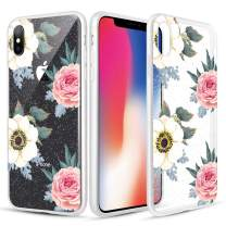 Caka Clear Case for iPhone X Xs Floral Glitter Clear Case Flower Pattern Pink Rose Slim Girly Anti Scratch Premium Clarity TPU Crystal Protective Glitter Case for iPhone X Xs (5.8 inch) (Pink White)