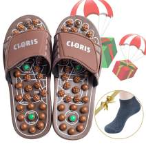 CLORIS Foot Massagers Acupressure Massage Slippers, Powerful Natural Stone Foot Massage Shoes Acupoint Massage Slippers Shoes for Men Women (Men 12+, Women 13+)