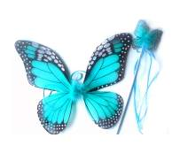 """Mozlly Turquoise Monarch Butterfly Wings & Wand. 18"""" for Children Dress Up Accessory - Costume, Princess, Fairy (2pc Set)"""