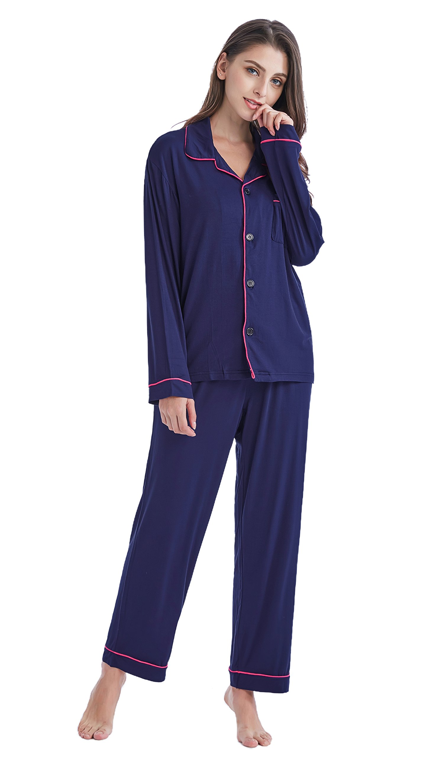 TONY AND CANDICE Women's Sleepwear Long Sleeve Knit Pajama Set with Pants