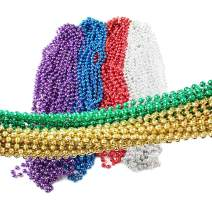 VStoy 72 Pieces Mardi Gras Beads Beaded Necklace Mardi Gras Party Supplies 33 inch 7mm