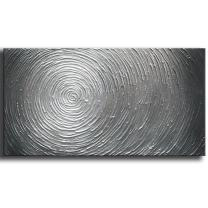 YaSheng Art - 20x40inch 3D Abstract Oil Paintings on Canvas Silver Gray Gradient Color Abstract Artwork