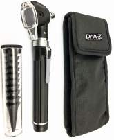Dr A-Z LED Pocket Otoscope Adult Pediatric Disposable Specula Tips Case Full Spectrum Pocket Clip in Diagnostic Approved Ear Care Professional Medical & Home Set Compact Size Fiber ENT Optic (Black)
