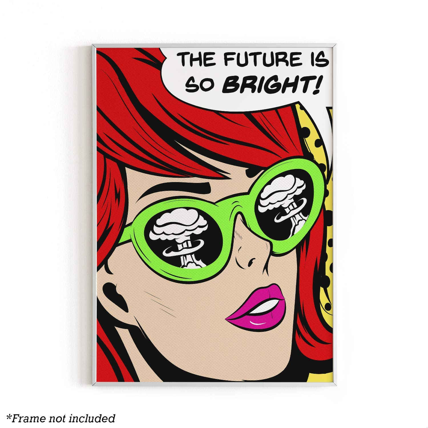 """Pop Art and Vintage Poster Print By Urban Willow   Trendy Andy Warhol Wall Art, Dope Posters, Cool College Posters, Dorm Wall Decor, Cool Wall Art, Unframed/Frameable, 12"""" x 16"""" (The Future is Bright)"""